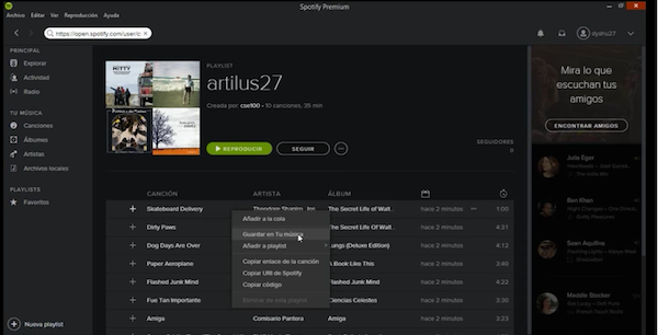 Spotify android pasar lista 2