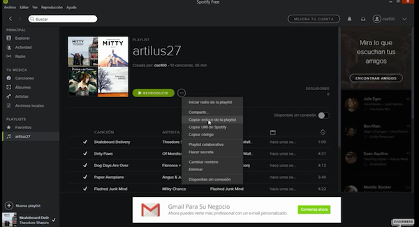 Spotify android pasar lista