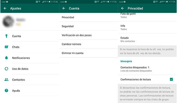 Activar o desactivar confirmación de lectura en WhatsApp